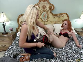 Watch this horny blonde undressing her and a hot redhair slut. Just look at her big tits, that tight pussy and that sexy ass. How tasty does that pussy look, doesn't it? Are those two hot babes gonna get some cock in their asses or some spunk on their pretty faces?