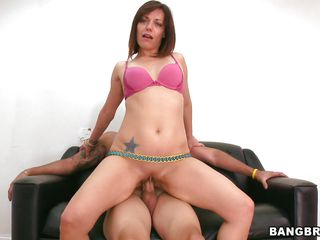 Brunette hot milf with a gorgeous ass and a fit body rides the man on the couch in reverse cowgirl. After she rode him for a while he takes control over her and fucks this beauty from behind deep and hard. Look at that booty getting rammed, she loves it that way