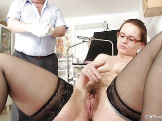 Mature brunette with unshaved vagina is sitting on the gynecologist table and the doctor examines her pussy with his hands. He is wearing medical gloves and spreads her pussy lips, fingering it. After all that pussy examining is time for an anal check up so he inserts a probe in her tight anus, do you think he will insert his dick too?
