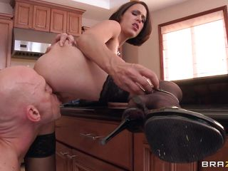She's a gorgeous milf with big breasts and a very pretty face. Look at her as she gets that pussy licked from behind and then fucked hard with her legs spread wide by this bald guy. She loves taking it hard from behind like a bad mommy and soon she will get a huge load of semen on those big round boobs.