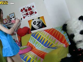 The horny Panda found this time a girl obsessed with him! This cutie has a poster with panda on the wall and draws a picture of him now. She's so excited and happy that finally panda visited her but does she knows what his intentions are? Well she maybe a bit innocent and stupid but that's how panda likes it!