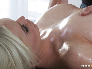 This pretty blonde with a perfect body is being massaged by a guy who surely know how to stimulate a women to be ready for hard sex. First the male start to massage her big tits and strengthened nipples and after he is continuing with her round and nice ass. The blonde is certainly very horny now.