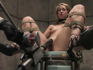 Calico gets her pussy fucked hard by that fucking machine, see how that dildo enters her vagina deep, fucking this horny slut until she screams with pleasure? The guy ties her pretty mouth and then another guy that is a technician operates the machine, giving this blonde a hell of a fuck. Do you enjoy seeing her hard nipples clamped and her sexy tights spread and tied?