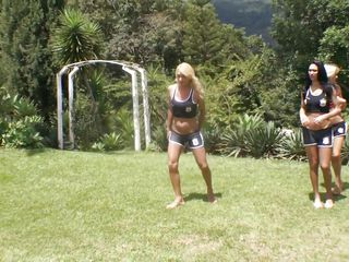 Playing sports is healthy but fucking is even healthy and much more interesting. These hot shemales, blonde brunettes and one redhead are playing outside until the get bored and get naughty. The gab their coach and undresses him kneels him and then, with their erect dicks, fuck his pretty mouth hard. The dude likes to be gang banged but even if he doesn't likes it the horny shemales will keep on fucking his mouth and maybe more.