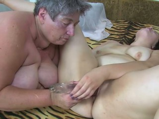 Overweight lesbo Granny and her Toy