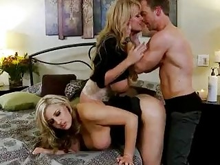 2 busty blondes in black dresses get impure in threesome with hot stud