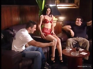 Teasing Brunette Gets Banged On A Couch  In A Trio