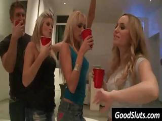 Party college girls get drunk and kiss and get ready for some action