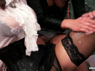 2 horny lesbian babes getting nasty with greasy gel