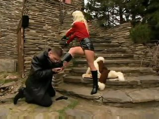 He licks her boots and they fuck outdoors
