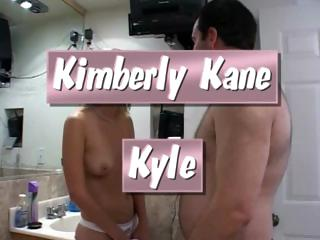 Golden-haired cutie, Kimberly Kane, stuffs Kyle's fat cock in her mouth and pussy