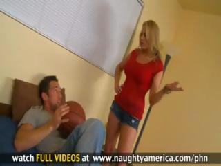 Blonde teacher Alanah Rae sucks and bonks her young student