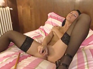 European in glamorous stockings fucked