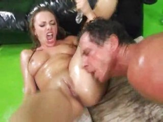 Fine a-hole oiled up gal anal banging