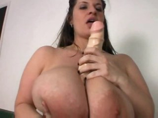 Huge tits chunky girl plays with her dildo