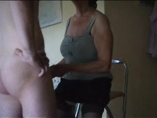 Slavemaster old lady makes him lick her